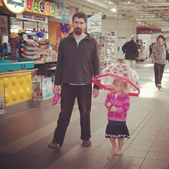 Ms. M and her dadda @ Perth train station.