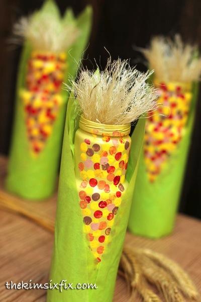 Kids Thanksgiving indian corn craft