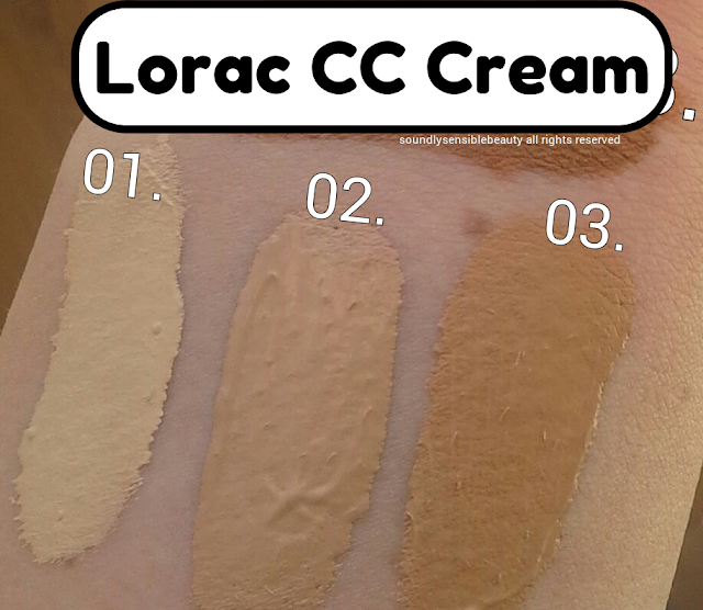 Lorac CC (Color Correcting) Cream; Review & Swatches of Shades 01 Light, 02 Medium, 03 Tan,