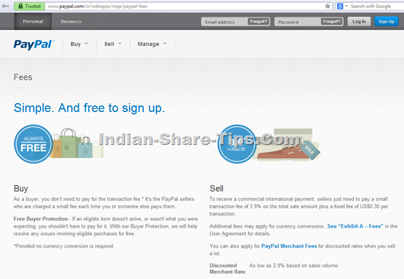 Paypal dedicated page for India