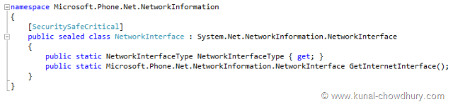 Meta Data of Microsoft.Phone.Net.NetworkInformation.NetworkInterface