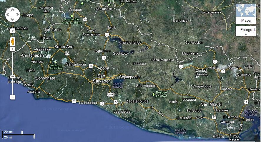 Mapa de El Salvador vista desde Satlite para imprimir  El Salvador