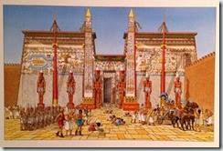 Représentation de l'antique temple de Thèbes par Jacques Martin