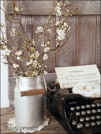 Spring Vignette with Typewriter - Vintage with Laces