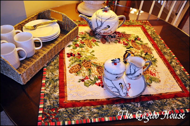 Sewing group with Chickadee quilt & tea set 025