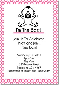 im the boss invite pink