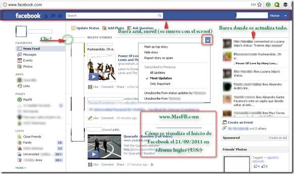 Inicio de Facebook en Ingles