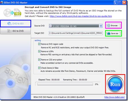 BDlot DVD ISO Master copiare DVD in ISO