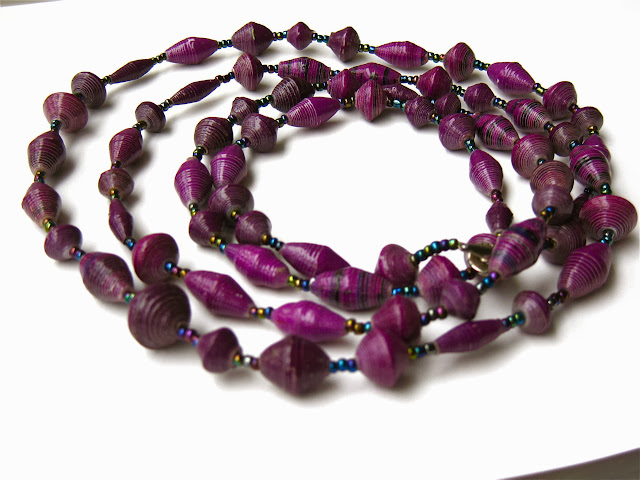 5-Strand Paper Bead Necklace.Uganda Fair Trade