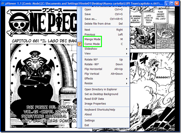 pViewer modalità manga e modalità comic