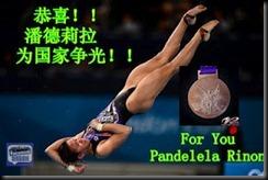 跳水女将潘德莉拉成功在10米台拿下了铜牌!