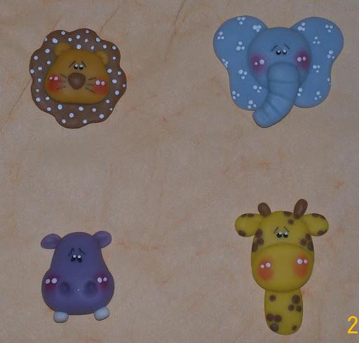 ... animales de la selva apliques de 4 cm aprox realizados en porcelana
