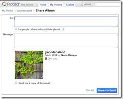 Picasa Web Album, sharing an album via email