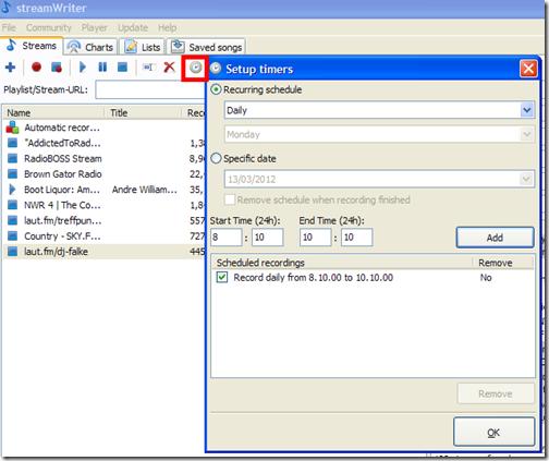 StreamWriter programmare registrazione radio