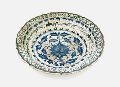 Plate | Origin:  Iran | Period: 1450-1500  Timurid period | Details:  Not Available | Type: Stone-paste painted under glaze | Size: W: 21.3  cm | Museum Code: S1997.67 | Photograph and description taken from Freer and the Sackler (Smithsonian) Museums.