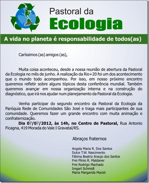 Convite 2º encontro da Pastoral da Ecologia