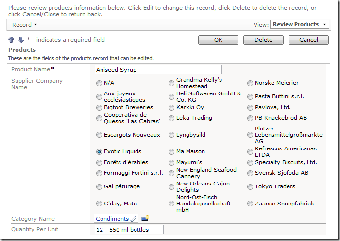 Data lookup rendered as a radio button list.