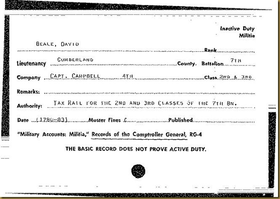 David Boal in Cumberland County, PA Militia 7th Battalion 4th Company