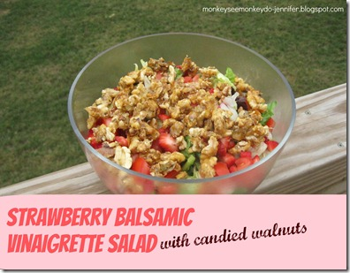 strawberry salad with candied walnuts, tomatoes & onions (1