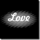 The text love used as a custom brush