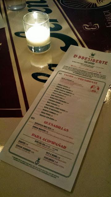 Cafe El Presidente menu