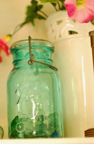 Spring blue aqua Ball jar mantle decoration