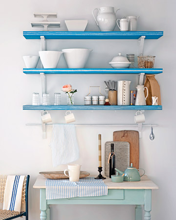 Bring stripes into your kitchen with this cute shelving project. (marthastewart.com/photogallery/stripe-craft-and-decorating-projects?lpgStart=1&currentslide=12)