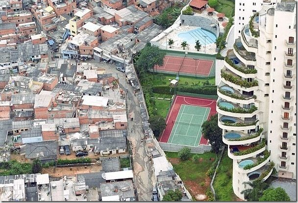 一張照片道盡巴西的貧富差距,注意看右邊的高樓家家戶戶都有一個露天泳池。