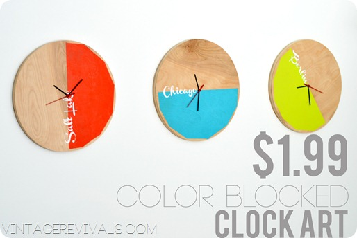Color Blocked Clock Art