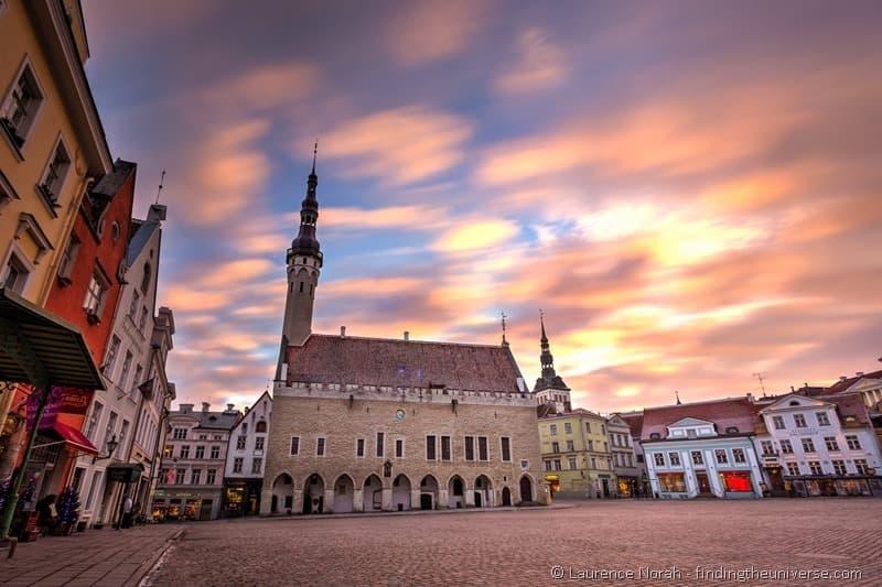 town square at sunset tallinn estonia