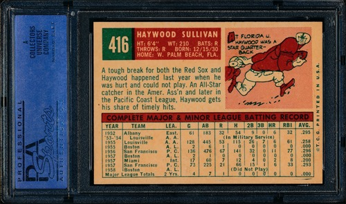 1959 Topps 416C Haywood Sullivan circle period back