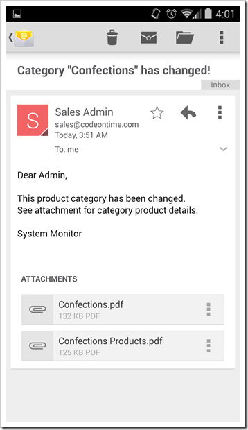An email notification with two report attachments produced by Touch UI app created with Code On Time.