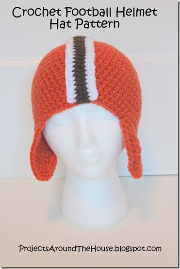 Crochet football helmet hat pattern, Browns