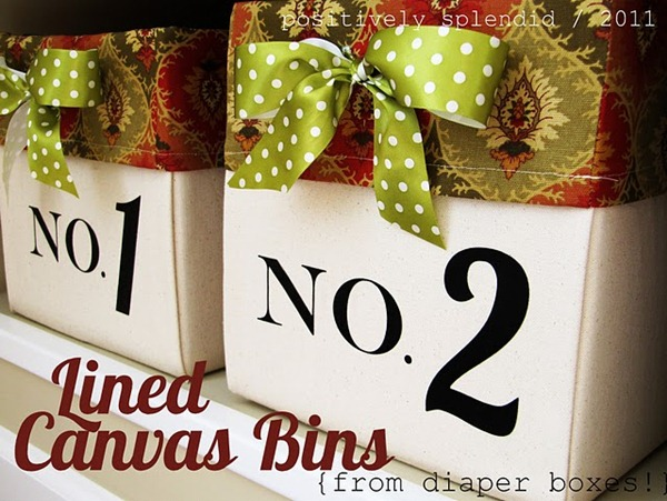 lined canvas bins tutorial
