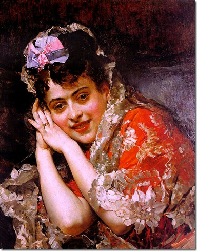 Raimundo Madrazo - The Model Aline Masson with a White Mantilla