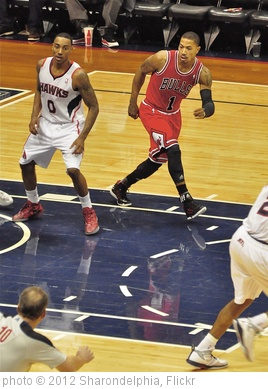 'Jeff Teague 0 - Hawks / Derrick Rose 1 -Bulls' photo (c) 2012, Sharondelphia - license: http://creativecommons.org/licenses/by-sa/2.0/