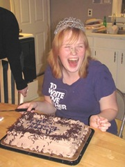 10.25.11 Katie laughing frosting on nose 18th birthday cake