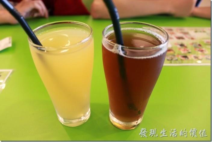 台南-越泰太。檸檬紅茶與密香綠茶,這裡的飲料普普而已,有點太甜了,而且也只有300ml的杯子。