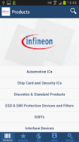 Screenshot of Infineon Products