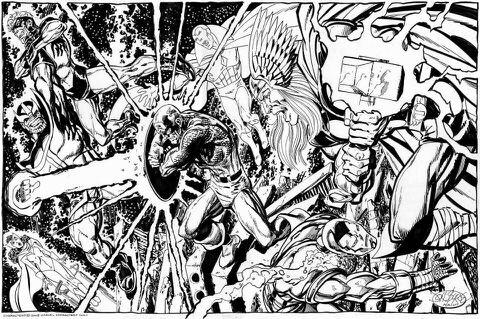 superbe dessin de john byrne montrant le combat des avengers avec captain marvel contre le titan thanos - Dessin Marvel