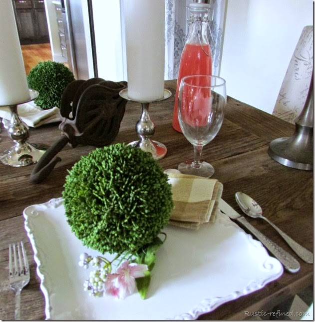 Spring Tablescape using Rustic Touches