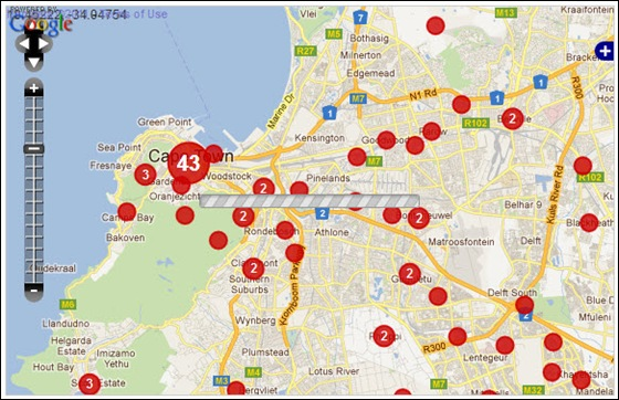 WESTERN CAPE PENINSULA CRIME MAP TARGETTING WHITES FARMITRACKER JAN12010 DEC112011