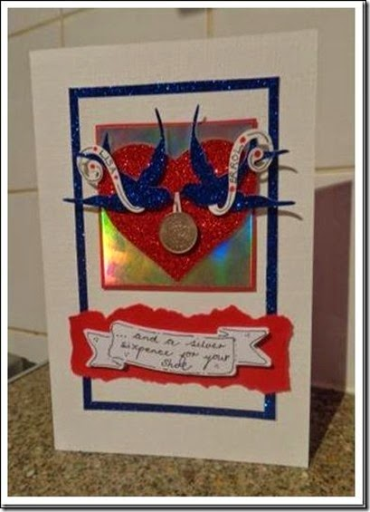 Silver Sixpence for her shoe card