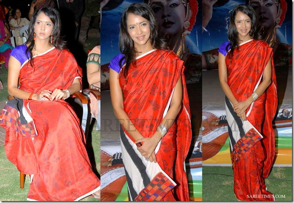 Lakshmi_Prasanna_Red_Printed_Saree