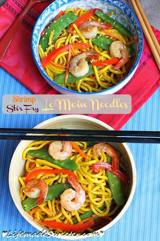 ... mein noodle dish with shrimp, snow-peas, red bell peppers and carrots