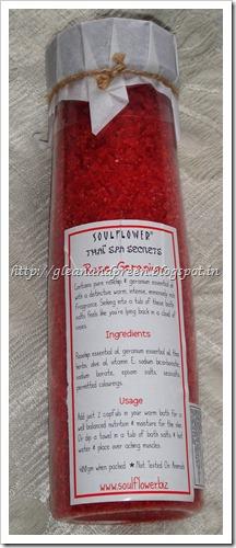 Soulflower Rose Gernaium Bath Salt Ingredients