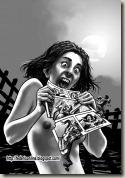 Ragazza che mangia una pagina di fumetto
