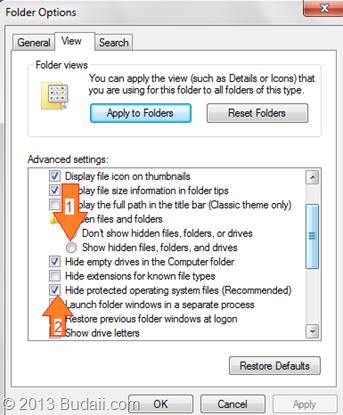Tampilan Folder Option
