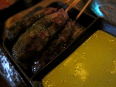 Charred Chilli Rubbed Beef Skewer, Thai Basil Dipping Sauce