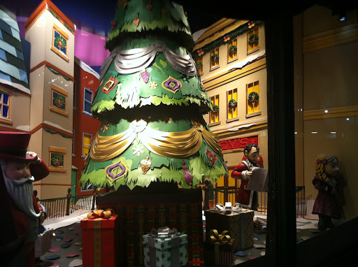 Here, a Christmas tree is shown outside of where else, but Macy's.